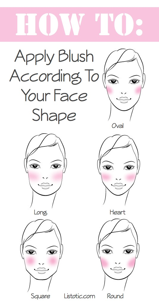 How to apply blush according to your face shape. -- Makeup tips and tricks for beginners, teens and even experts! These beauty hacks and step-by-step tutorials are perfect for women of any age, older or younger. Easy ideas and life hacks every girl should know.:) Listotic.com