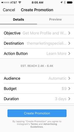 Create Promotion Instagram